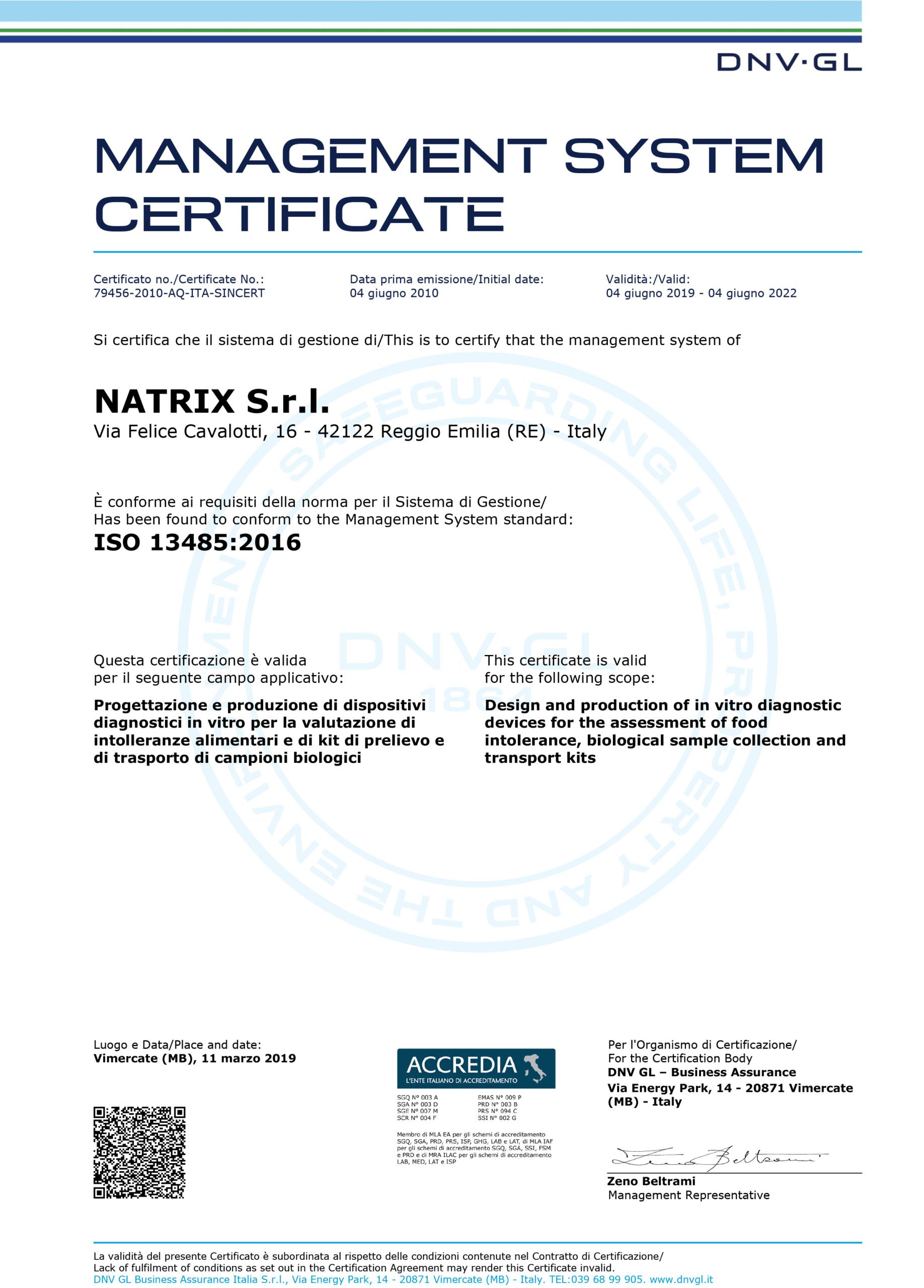 immagine certificazione iso 13485